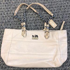 Authentic Cream Colored Leather Coach Handbag
